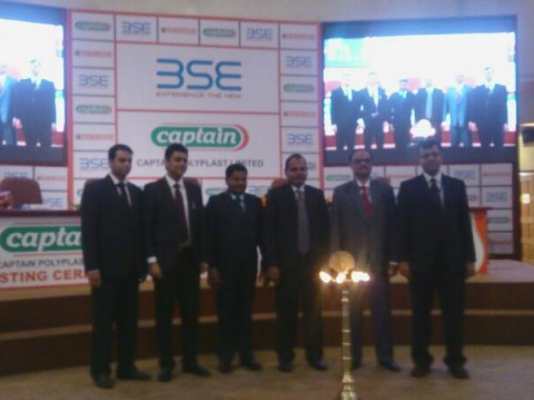 Our board members at company's listing ceremony held at BSE, Mumbai under Captain Polyplast Listed in BSE